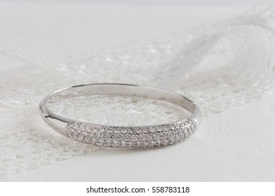 Close up of diamond bracelet. space for your text.