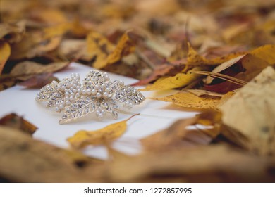 Close up of diamond bridal hairpiece on white cardstock amongst yellow fall leaves