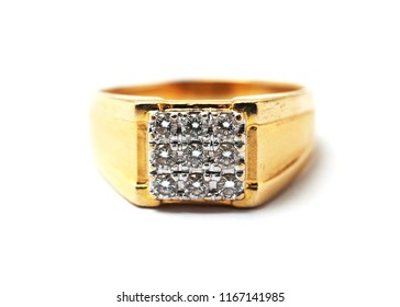 Close up Diamond ring isolated on white background.