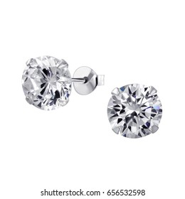 Close up Diamond Stud Earrings