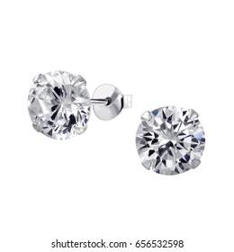 Close up Diamond Stud Earrings