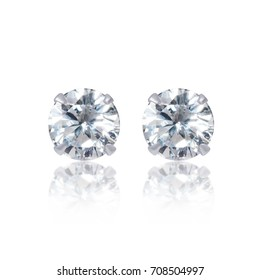 Close up Diamond Stud Earrings with Reflection