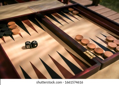 Close up of a dice game, backgammon