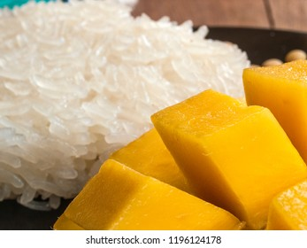 Close up of diced mango and sticky rice