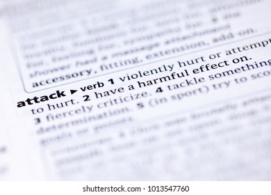 Close up to the dictionary definition of Attack
