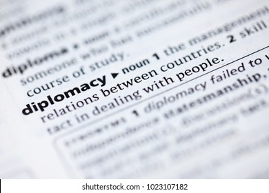 Close up to the dictionary definition of Diplomacy