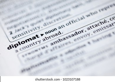 Close up to the dictionary definition of Diplomat