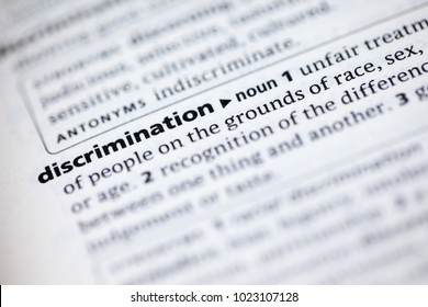 Close up to the dictionary definition of Discrimination