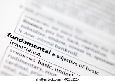 Close up to the dictionary definition of Fundamental