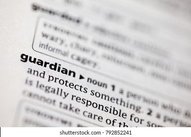 Close up to the dictionary definition of Guardian