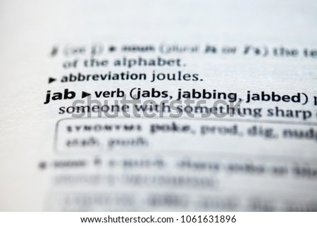 Close Dictionary Definition Jab Stock Photo Edit Now 1061631896