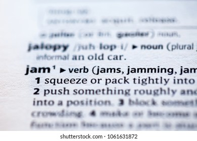 Close up to the dictionary definition of Jam