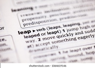 Close up to the dictionary definition of Leap
