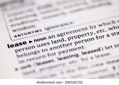 Close up to the dictionary definition of Lease