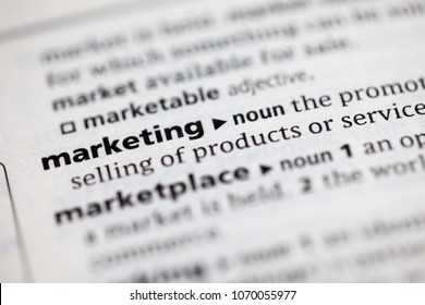 Close up to the dictionary definition of Marketing