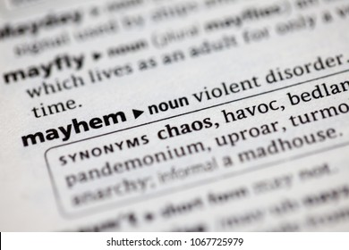 Close up to the dictionary definition of Mayhem