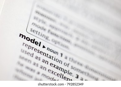 Close up to the dictionary definition of Model