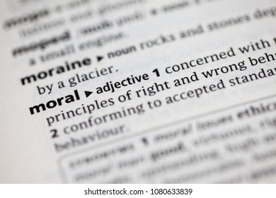 Close up to the dictionary definition of Moral
