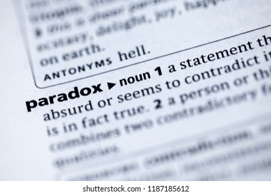 Close up to the dictionary definition of Paradox