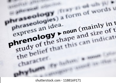 Close up to the dictionary definition of Phrenology