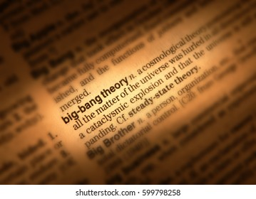CLOSE UP OF DICTIONARY PAGE SHOWING DEFINITION OF THE WORD BIG BANG THEORY, TAKEN IN CLECKHEATON, WEST YORKSHIRE, UK, 15TH JUNE 2004