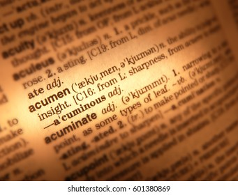 CLOSE UP OF DICTIONARY PAGE SHOWING DEFINITION OF THE WORD ACUMEN, TAKEN IN CLECKHEATON, WEST YORKSHIRE, UK, 3RD JUNE 2004