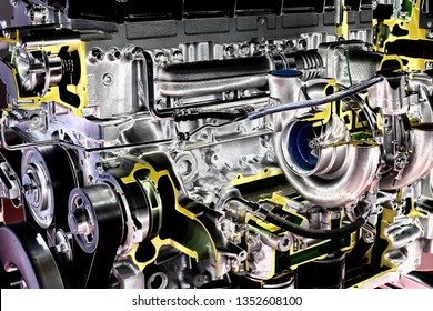 Close up of diesel engine of truck