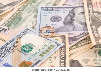 Close up of different dollar bills. Isolated as a background.