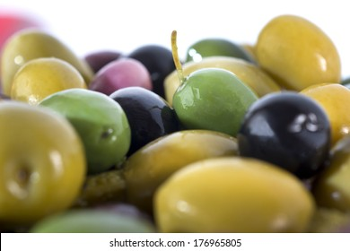 Close up different olive fruits