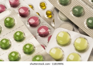 Close up of different pills. Selective focus