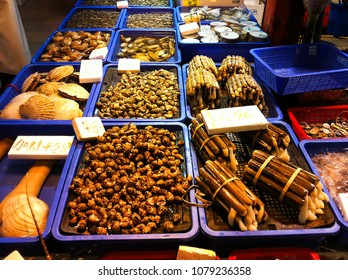 close up of different seafood items in local market in Hong Kong