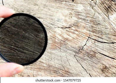 Close up of a digital camera polarized filter for lenses.
