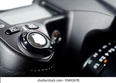 Close up of a digital camera. Studio shot