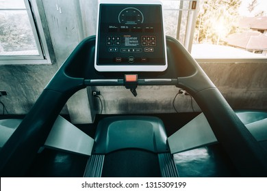 Close up digital display screen control exercise  treadmill  equipment interior gym and modern fitness room center