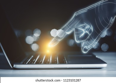 Close up of digital hand using glowing laptop on blurry toned background. Technology, AI and device concept