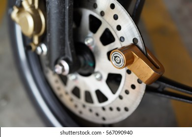 Close Up of Disc Lock on Motorbike Disc Brake