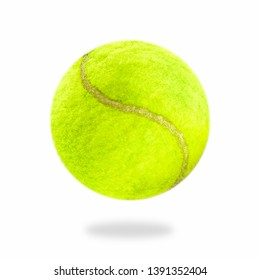The close distance of the yellow tennis ball is pretty clear. Single ball isolated on a white background that can be easily used to make illustrations or designs