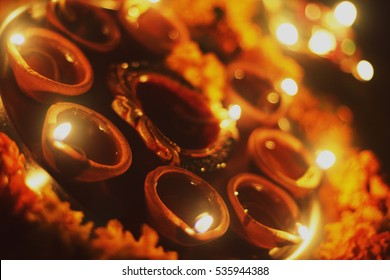 Close up Diwali traditional  indian festival  candles. Indian traditional deewali candles background. diwali diyas. Indian traditional diya