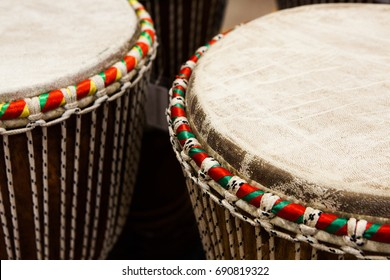 Close up Djembe drum African percussion instrument