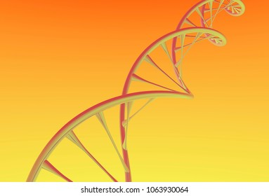 Close DNA Double helix, metal with Orange and yellow background