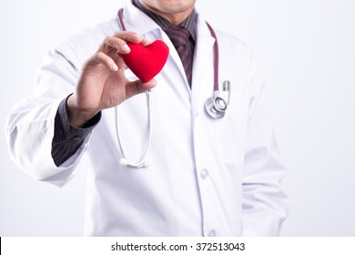 close up of doctor hands with heart