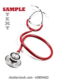 Close up of a doctor's stethoscope in red on a white background with space for text