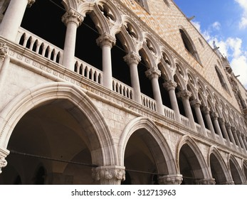 Close up of Dodges Palace in Venice, Italy.