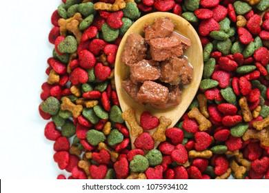 Close up of Dog food or wet food dog on feed gog background