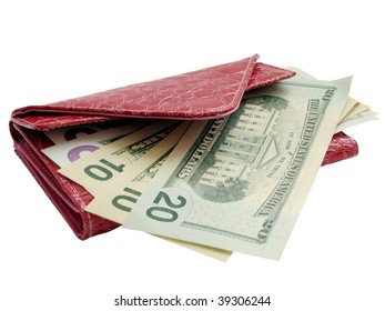 close up dollar banknotes in red wallet