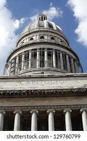Close Up of The Dome On The Capitolio Building In Havana Cuba Undergoing Rennovation Fenruary 2013