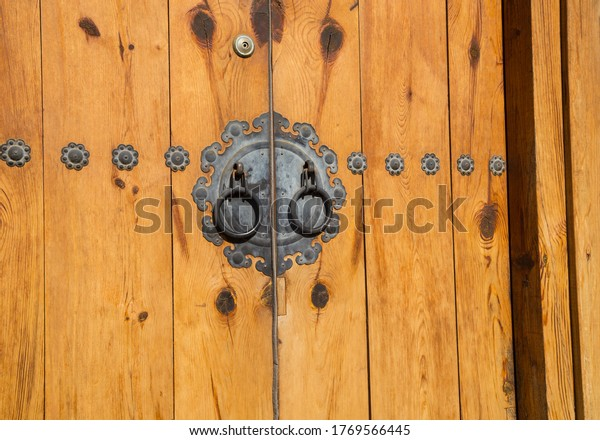 Close up of a door in Bukchon village in Seoul. South Korea