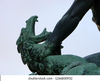 Close up of the dragon head from the Dragon Slayer sculpture near the Liberty Monument at Gellert Hill, Budapest, Hungary