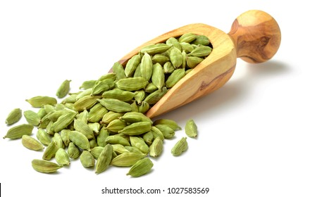 close up of dried cardamom isolated on white