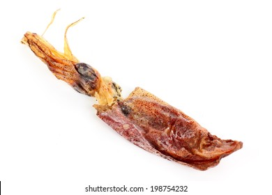 close up of dried squid isolated on white background